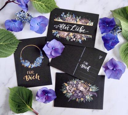 Van Gogh Aquarelle Postkarten schwarz