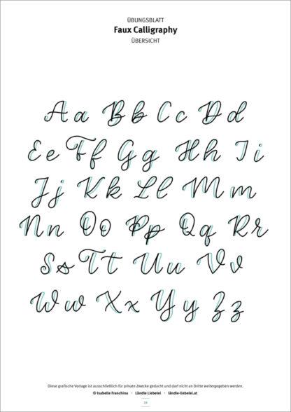 Brush-Lettering & Faux Calligraphy Übungsunterlagen by Ländle Liebelei