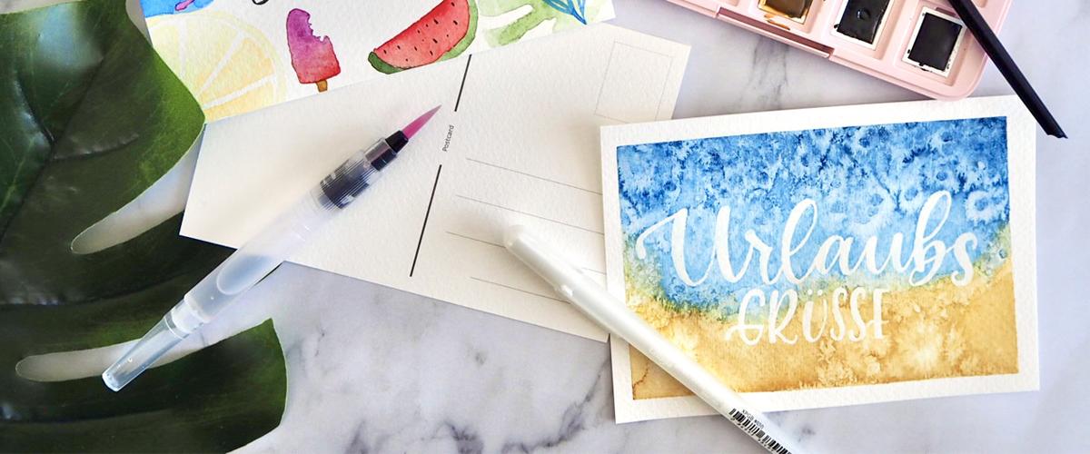 Urlaubsgrüße Postkarte DIY